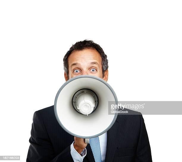 Reifer Geschäftsmann schreien in ein Megafon