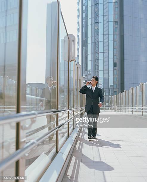 成熟したビジネスマンが携帯電話で話しているを都会的な雰囲気
