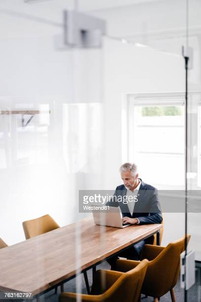 Mature businessman using laptop on conference table in office