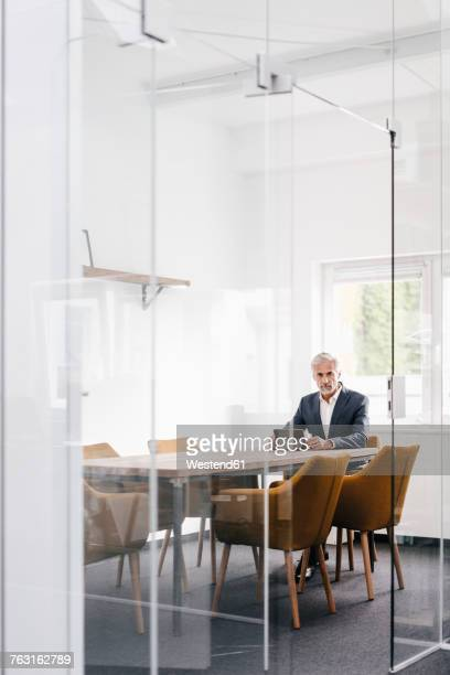 Mature businessman using tablet on conference table in office