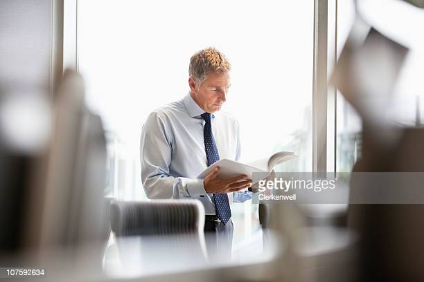 Mature businessman with document at office
