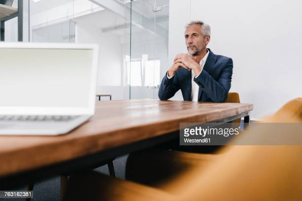 Mature businessman with laptop in office