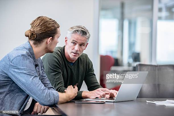 Mature businessmen explaining to colleague using laptop