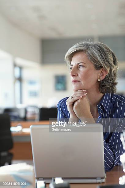 Mature businesswoman by laptop in office