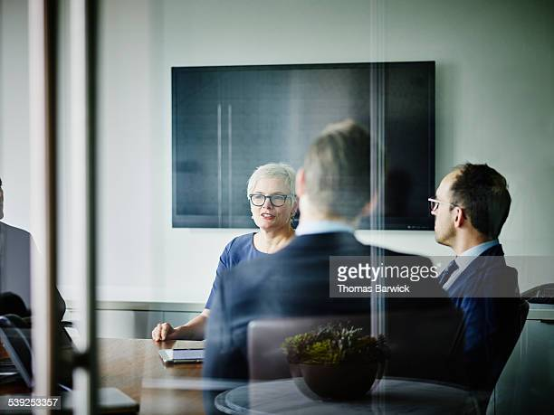 Mature businesswoman leading team meeting