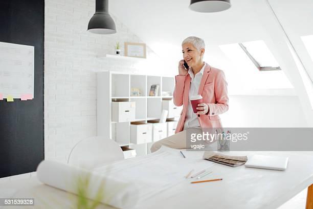 Madura Mulher de Negócios ao telefone em seu escritório.