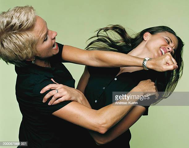 Mature businesswoman punching woman