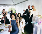 Mature Couple are Toasted at their Wedding Reception in a Marquee