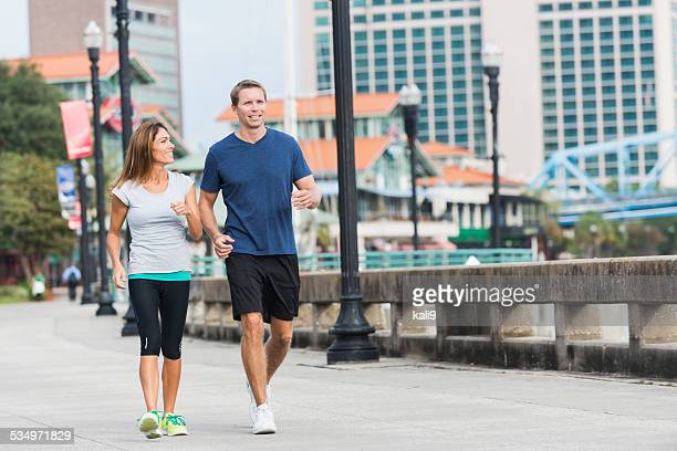 Mature couple exercising together