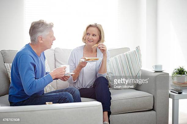 Mature couple having supper