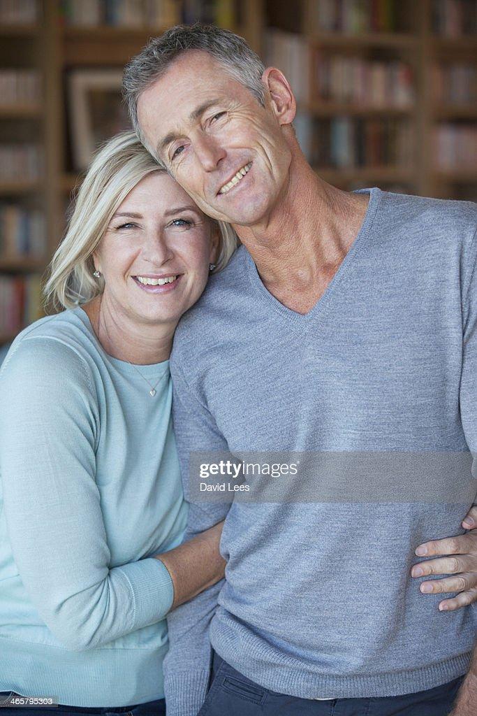 Mature couple hugging