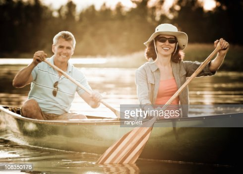 Mature Couple in a Canoe : Stock Photo