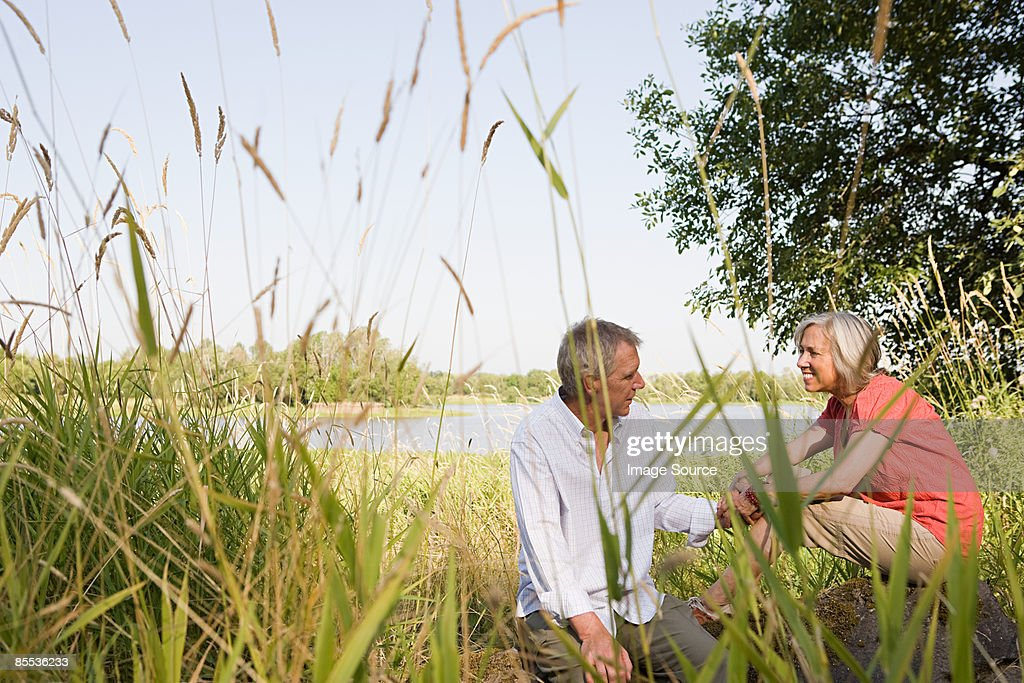 Mature couple in countryside : Stock Photo