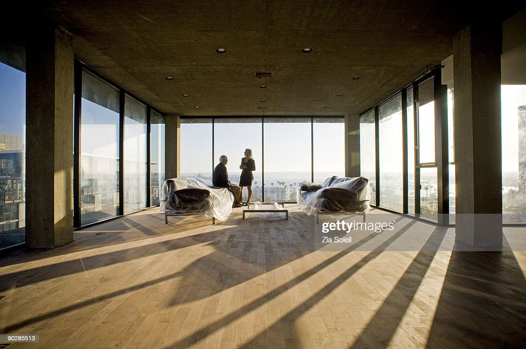 mature couple in empty new condo : Stock Photo