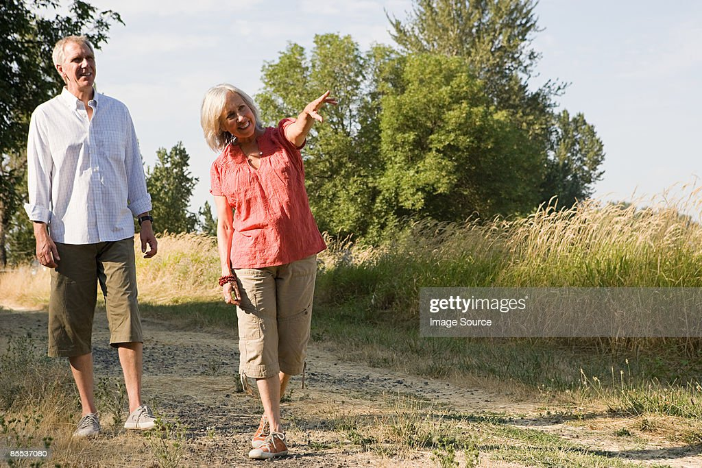 Mature couple in field : Stock Photo
