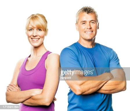 Mature Couple in Fitness Wear (Isolated on White)
