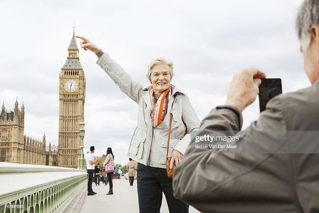 Mature couple in front of Big Ben.