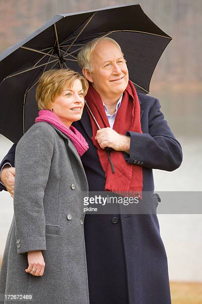 Mature Couple in the rain
