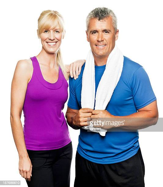 Mature Couple in Workout Wear - Isolated