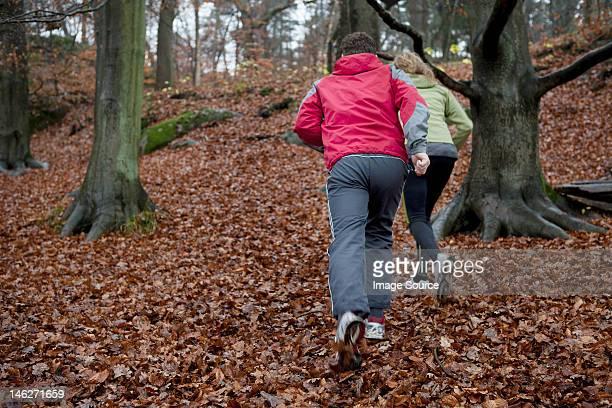 Mature couple de jogging dans la forêt