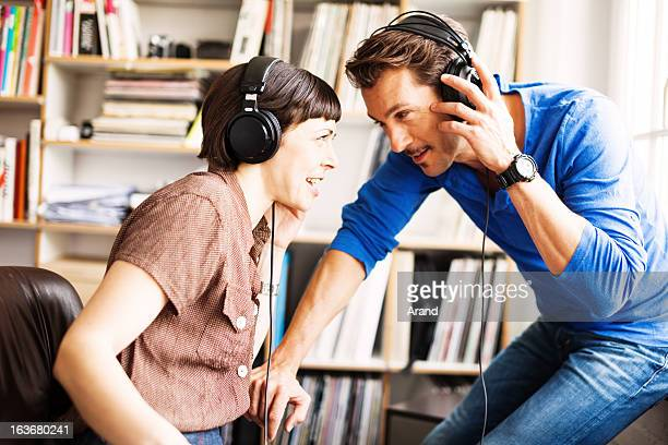 mature couple listening to music