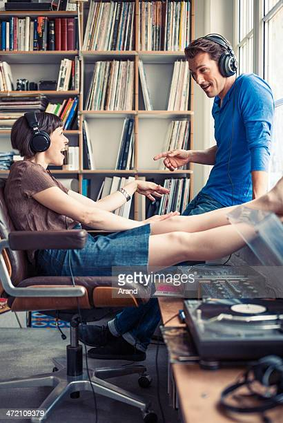 mature couple listening to music.