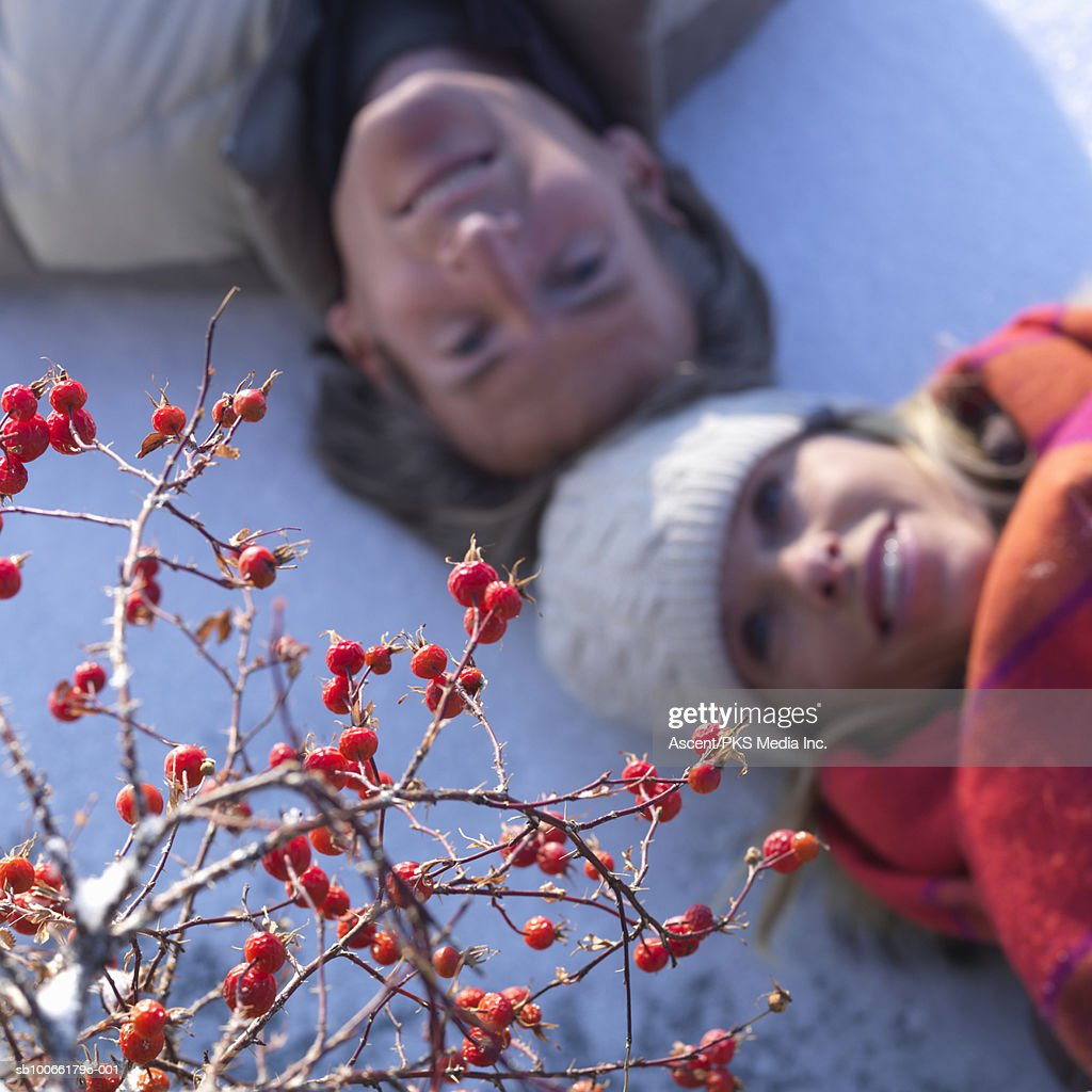 Mature couple lying on snow, focus on rosehip tree in foreground : Stock Photo