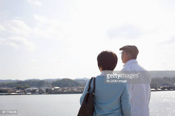 Mature couple standing by river, rear view