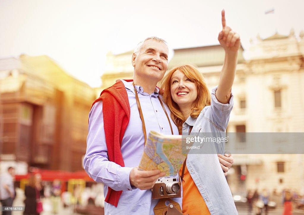 Mature couple traveling.