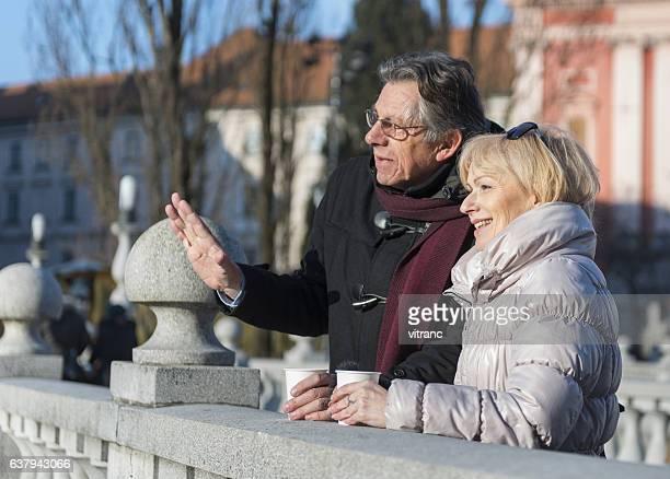 Mature couple traveling