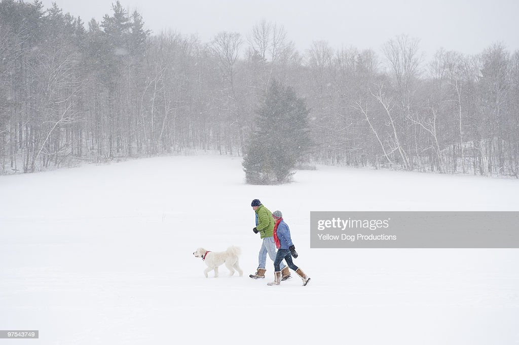Mature couple walking with dog during snow storm