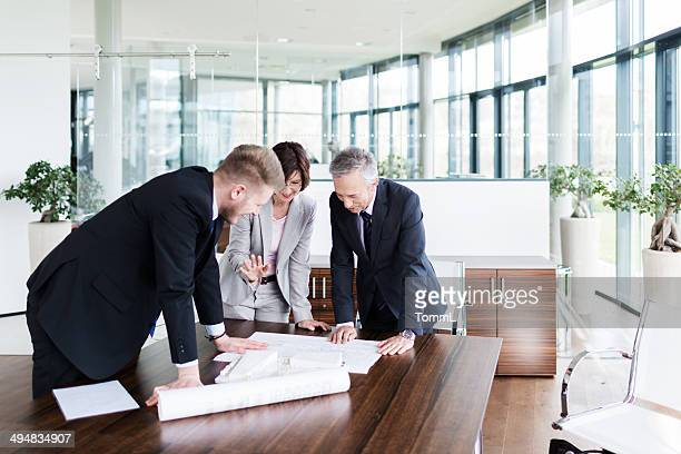 Mature Couple with Archtiect in Modern Office Discussing Project