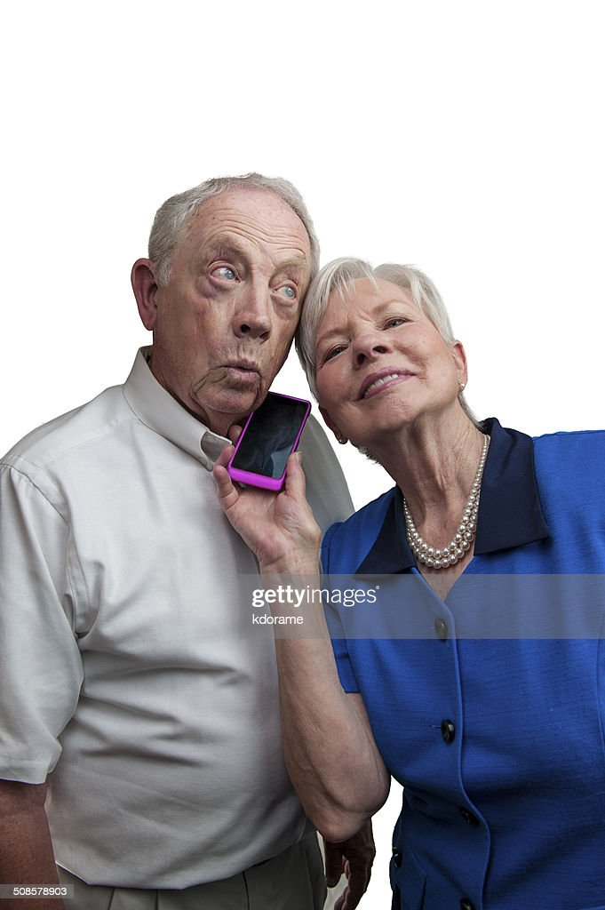 Mature Couple with Cell Phone : Stock Photo