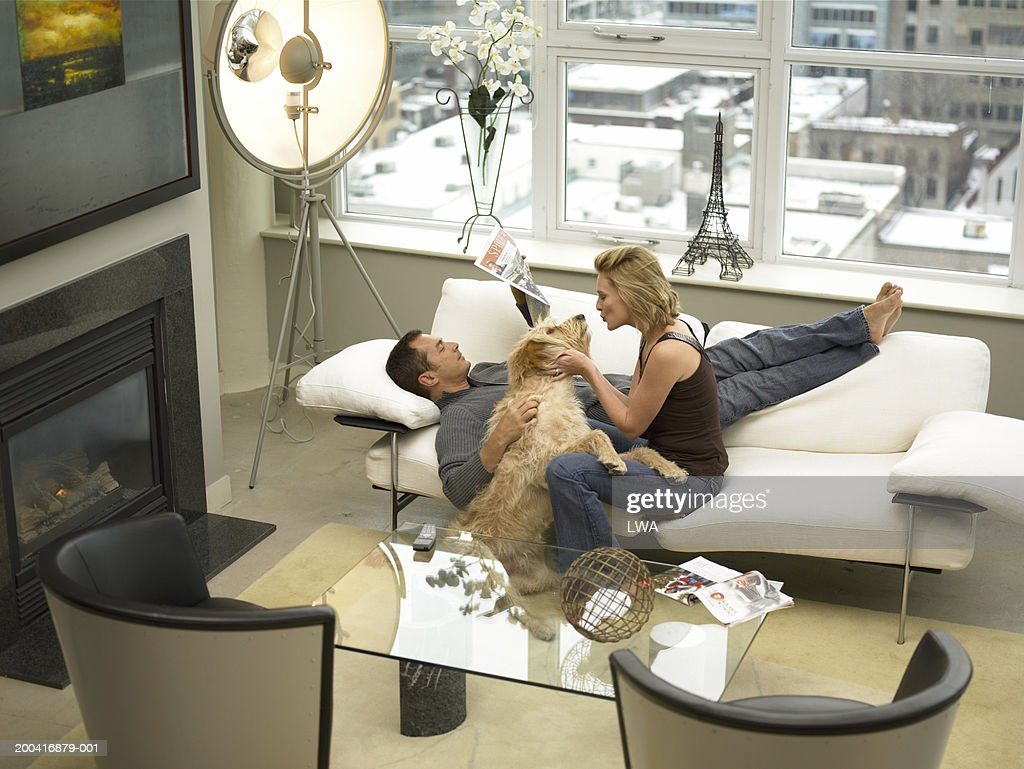 Mature couple with dog relaxing on sofa, elevated view : Stock Photo