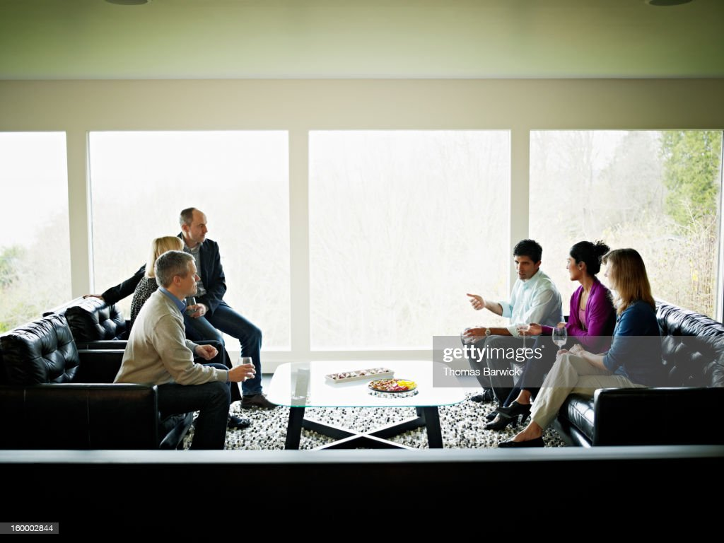 Mature couples in living room drinking wine : Stock Photo