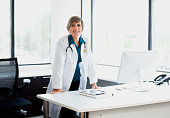 Mature female doctor in office, portrait