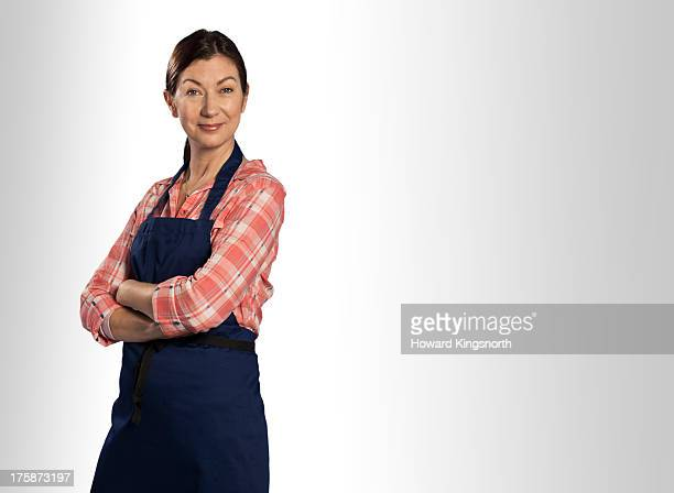 mature female wearing apron