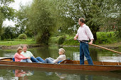 Mature friends punting