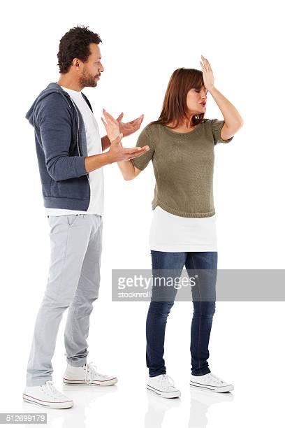 Mature interracial couple having a fight