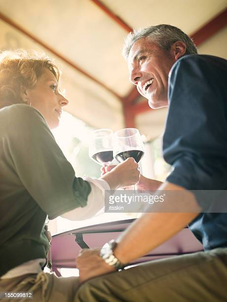 Mature Italian couple toasting in bar