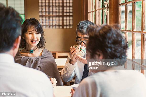 Mature Japanese Couples Going Out Together Drinking Tea Kyoto Japan