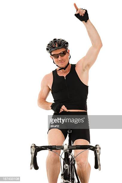 Mature male athlete bicycle winning race isolated exercise gesture