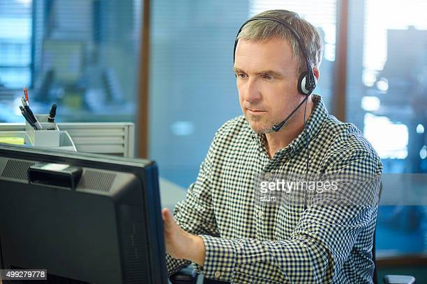 mature male call centre call handler