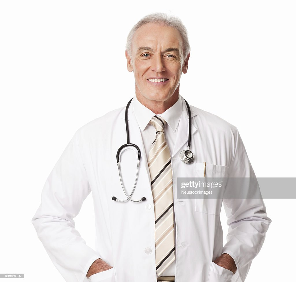 Mature Male Doctor With Stethoscope - Isolated : Stock Photo