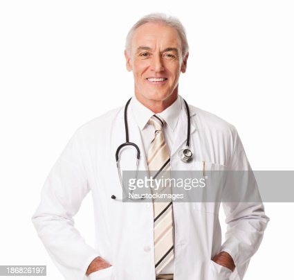 Mature Male Doctor With Stethoscope - Isolated