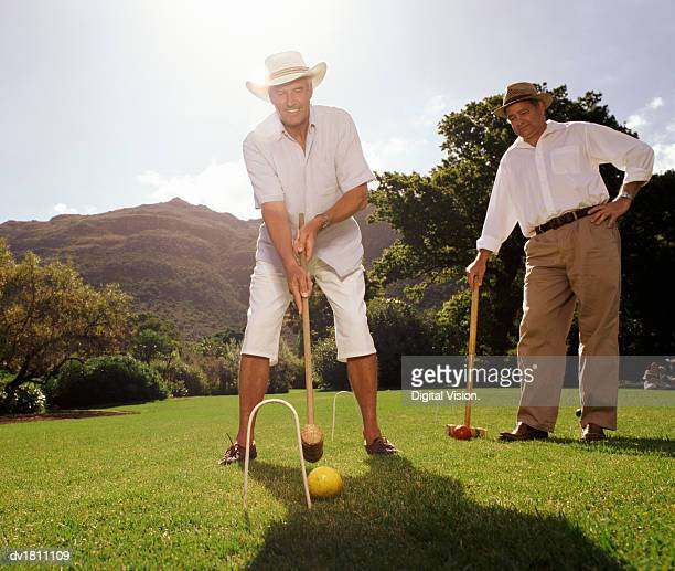 Mature Male Friends Playing Croquet