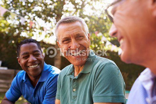 Mature Male Friends Socializing In Backyard Together : Foto de stock