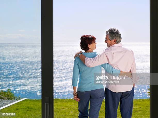 Mature man and woman together outside