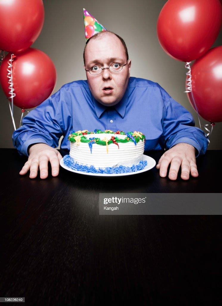 Mature Man Celebrating Birthday : Stock Photo
