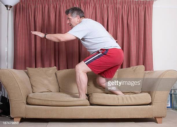 Mature man couchsurfing